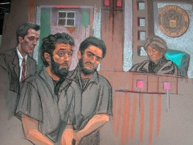Convicted terrors suspects Mohamed Alessa, and Carlos Almonte in a 2010 illustration from a court appearance. The two got involved in a fight in a Brooklyn jail and might face a harsher sentence.