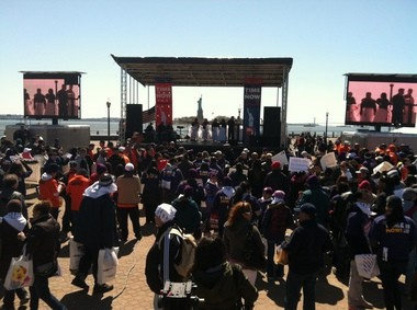 Close to 2,000 people streamed in to Liberty State Park throughout the day Saturday to support immigration reform.
