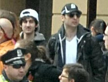 The two suspects in the Boston Marathon bombings. Dzhokhar A. Tsarnaev, left, is being searched for. His brother, right, was killed this morning.