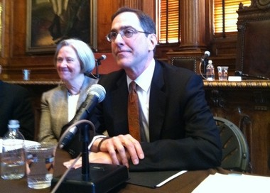 Christopher L. Eisgruber (right) will become Princeton University's 20th president. Seated next to him is Shirley M. Tilghman, the university's 19th president.