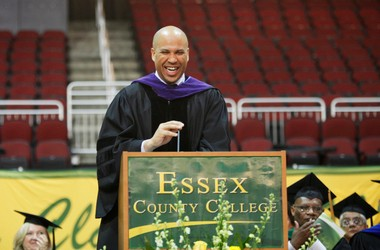Newark Mayor Cory Booker delivers the commencement address at the Essex County College graduation ceremony at the Prudential Center in Newark, NJ last year.