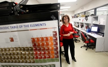 Patent-pending technology developed by Rutgers University Chemistry Professor Kathryn Uhrich, pictured here in this 2012 photo, and her colleagues has the potential to greatly diminish morphine abuse