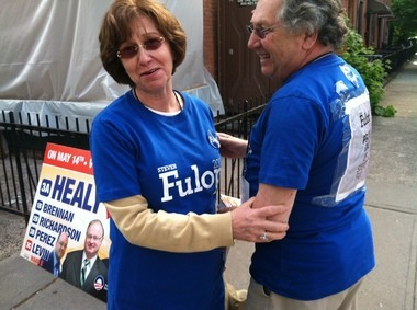 Mayoral candidate Steven Fulop's parents, Arthur and Carmen Fulop, campaign for their son.