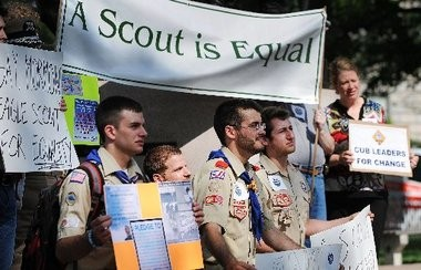 Scouts for Equality holds a rally to call for equality and inclusion for gays in the Boy Scouts of America at the Boy Scout Memorial in Washington, D.C., on Wednesday.