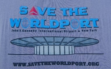 This is the logo of the organization that this pair of New Jersey baby boomers who remember their first international flights out of JFK are leading what has become an international effort to save the World Port.