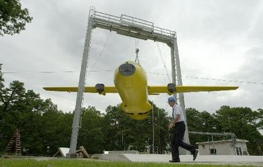 The Federal Aviation Administration's William J. Hughes Technical Center at Atlantic City International Airport will be the testing ground for lead-free aviation fuel the agency hopes to approve by 2018. In this Star-Ledger file photo, an aircraft is suspended by a crane at the technical center before being dropped in a crash-worthiness test.