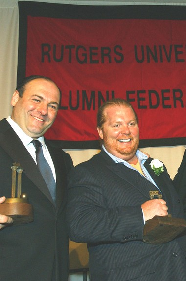 James Gandolfini, left, and celebrity chef Mario Batali share the stage during their 2004 induction into Rutgers University's Hall of Distinguished Alumni.