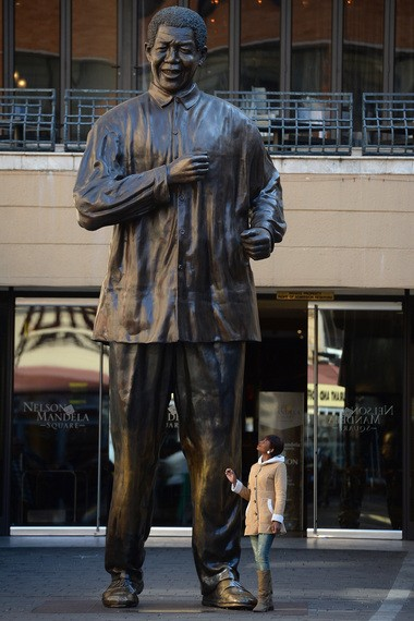 A statue of Nelson Mandela in Johannesburg, South Africa.