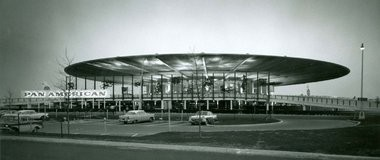 An airport lobby group, the Global Gateway Alliance, has urged the demolition of the old Pan Am Worldport at John F. Kennedy International Airport, seen here shortly after its opening ihn 1960. The terminal, which has been structurally altered and surrounded by other airport developments, was shut down by Delta Airlines last month.