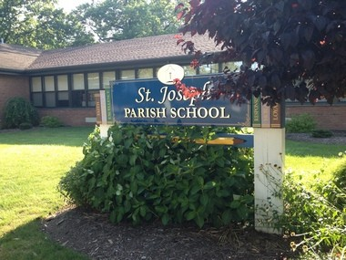 A view of St. Joseph Parish School, which sits across the street from the church and the rectory.