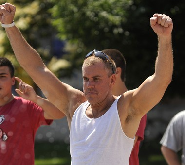Glenn Davidowich, who was expelled from the priesthood in the Byzantine Catholic church following sex abuse claims, is seen here at a July 13 community festival in Manitowoc, Wis., where he now lives. The New Jersey native had just hit the target on a dunk tank.
