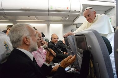Pope Francis holds a press conference aboard the papal plane, addressing gays in the priesthood, as he returns to Rome from Brazil.