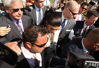 """Realty TV star Joe Giudice, leaving the federal courthouse in Newark with his wife Teresa, faces possible deportation if convicted in the case charging the """"Real Housewives"""" couple with bank and tax fraud."""