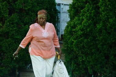 Fredrica Bey, founder of Women in Support of the Million Man March, is seen leaving her home in May 2013.
