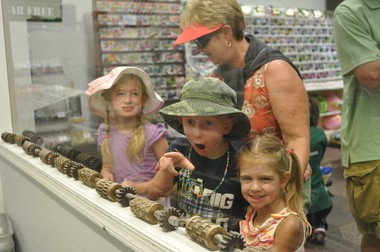 Kids watch taffy being made at Shriver's.