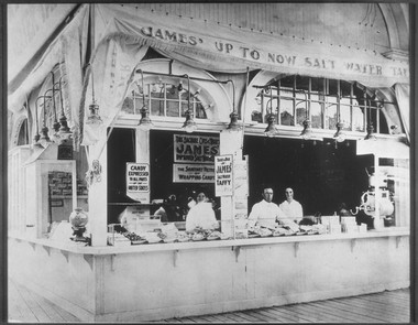 The James taffy store on the Atlantic City boardwalk in the early 1900s.