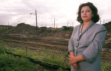 "Deputy Attorney General Anna M. Lascurain, shown here in 2004 next to a former Newark cemetery, claims she was the victim of discrimination after being pushed into a ""dead-end"" job by one of Gov. Chris Christie's nominees to the state Supreme Court."