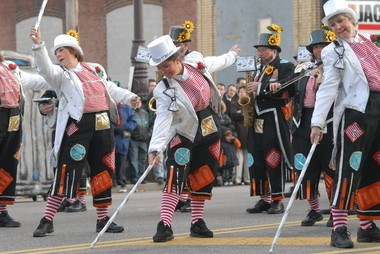 Members of the Pennsport String Band perform during the 107th Annual New Year's Day Mummer's Parade.