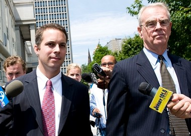 Former Hoboken Mayor Peter Cammarano III, left, leaves the federal courthouse in Newark with his lawyer Joseph A. Hayden Jr., after being sentenced in 2010 to two years in prison on federal corruption charges. Cammarano was charged today with election law violations in connection with money paid to his campaign during an FBI sting.