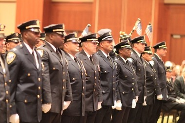 Members of the Port Authority Police Department during a promotion ceremony in Jersey City, where 54 officers were elevated in rank.
