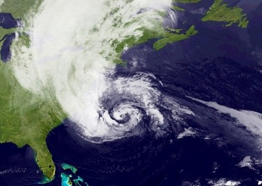 A satellite photo of Hurricane Sandy on Oct. 28, 2012, the day before the superstorm hit New Jersey.