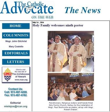 In this screenshot from a newspaper for the Archdiocese of Newark, the Rev. Robert Chabak, right, is seen with the Rev. Paul Bochicchio, left, in 2004.