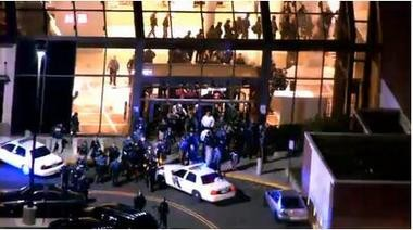 The scene outside Garden State Plaza mall in Paramus Monday night.