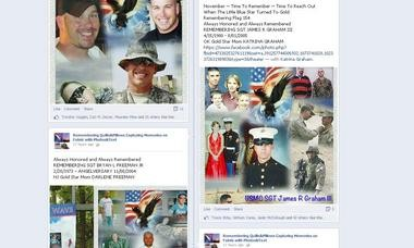 A screenshot of Helen Rusch Phillips' Remembering Quilts Facebook page, where she shares images of flags she's made to honor service members.