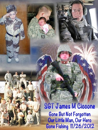 Detail of a Remembering Flag for James Ciccone, an Army specialist from Virginia who was promoted to sergeant after his death. Ciccone committed suicide last year.