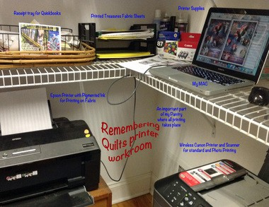 The workspace where Rusch Phillips prints photos for her memorial flags onto fabric using washable ink.