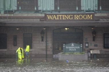 "Hurricane Sandy turned NJ Transit's Hoboken Terminal into a scene out of ""Waterworld"" and flooded hundreds of trains in Kearny and Hoboken, causing $120 million in damage."