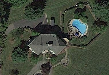 A satellite image of Archbishop Myers' weekend residence in Franklin Township, Hunterdon County. The image does not show the three-story addition now under construction.
