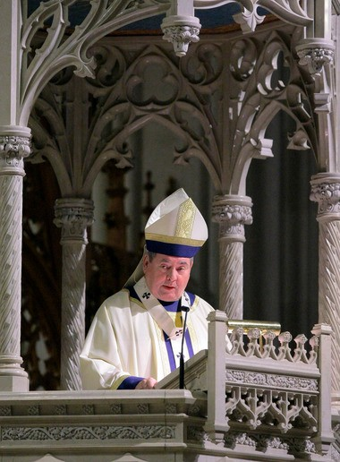 Newark Archbishop John J. Myers, seen here speaking from the pulpit in a file photo, came under fierce criticism for his handling of Michael Fugee, a former priest.