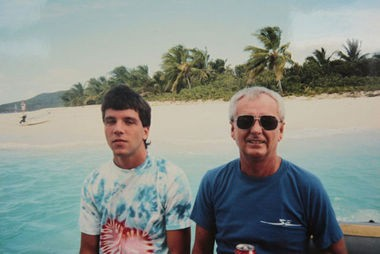 Chris Naples and the Rev. Terence McAlinden on a trip to the Virgin Islands. Naples says the priest sexually assaulted him there and on other trips.