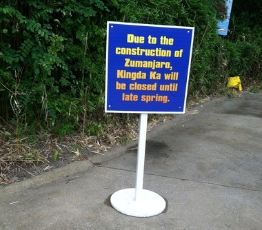 A sign outside the Kingda Ka roller coaster informed visitors to Six Flags Great Adventure that the ride was still closed because Zumanjaro was not finished. The drop ride, built on the face of Kingda Ka, was slated to open Memorial Day weekend.
