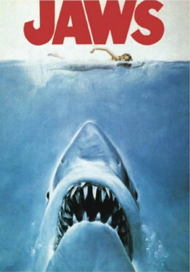 A film poster for the movie Jaws. Great white sharks have a unique place in pop-culture and the general consciousness of fear.