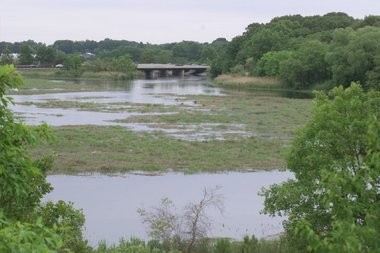 Facing east, a view of the Matawan Creek just yards upstream from where, in Matawan in 1916, a shark attacked and killed bathers. The Garden State Parkway is at rear.