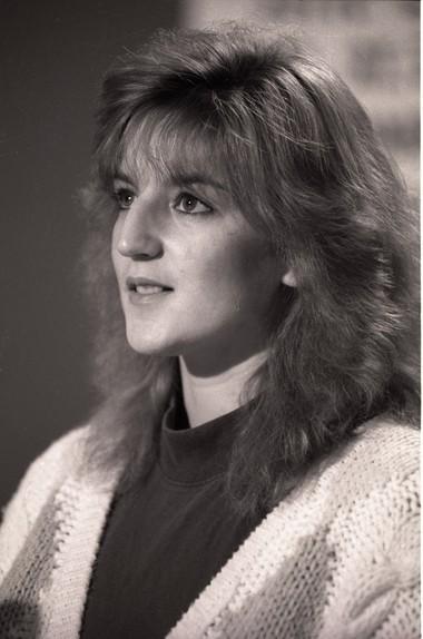Michelle Lodzinski at a press conference on November 25, 1991.