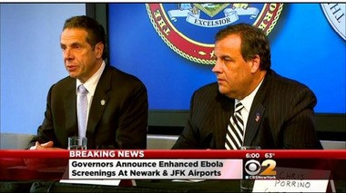Govs. Cuomo and Christie announced yesterday that they were ordering all people entering the country through two area airports who had direct contact with Ebola patients in Sierra Leone, Liberia and Guinea to be quarantined. (AP photo)