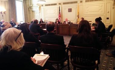 Sen. Bob Smith, center, presides over a hearing of the Senate Environment Committee on Monday, Dec. 8, 2014.