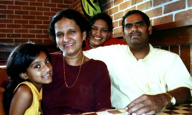 An undated photo of the Angara family. From left to right, daughter Priya Angara, mother Geetha Angara, daughter Pavithra Angara and father Jaya K. Angara. Not pictured is the couple's son, Vivek Angara.