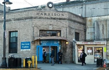 The Harrison PATH Station, built in 1936 at the southwest corner of the intersection formed by Frank Rogers Boulevard and the railroad overpass that supports tracks used by Amtrak, NJ Transit and PATH trains. (John Munson | NJ Advance Media)