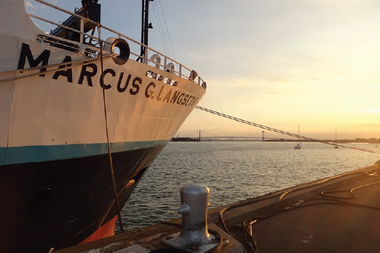 A photo of the research vessel, the R/V Marcus G. Langseth.