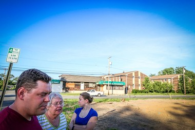 The Horezga family: Andrew, 33, and Theresa, 26 return to the boarded-up South Amboy neighborhood they grew up in with their mother, Mary, who lost the family home during Hurricane Sandy. They have still not been able to rebuild. 6/24/15