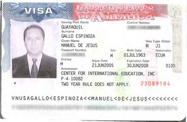 A copy of the visa issued to the Rev. Manuel Gallo Espinoza, who is believed to have fled the country in 2003 when he was accused of sexually assaulting a teenage boy. After returning to the U.S., he got a job as a teacher in Maryland, records show. (Mark Mueller   NJ Advance Media for NJ.com)