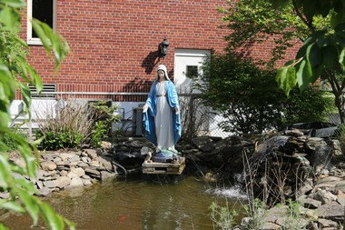 A statue of the Virgin Mary behind the rectory at St. Mary's Church in Plainfield. Max Rojas Ramirez claims he was raped in the rectory when he was 15. (Mark Mueller   NJ Advance Media for NJ.com)