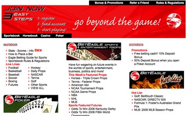 A screenshot of the website Beteagle, tied by prosecutors to an illegal sports betting ring based in New Jersey.