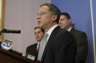 U.S. Attorney Paul Fishman in 2011 announcing the arrests of Scarfo and others in the mob takeover of FirstPlus Financial Group. (Noah Addis | Star-Ledger file photo)