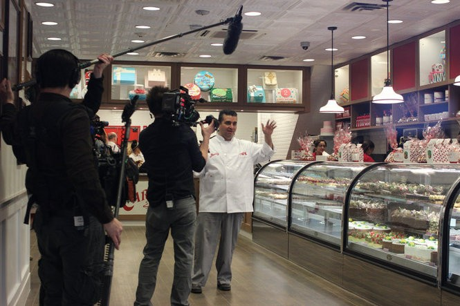 """Buddy Valastro and the """"Cake Boss"""" crew filming at Carlo's Bake Shop in Hoboken. (Kathryn Brenzel 