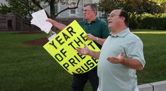 Robert Hoatson, left, and Mark Crawford attend a demonstration in this 2013 Star-Ledger file photo. Crawford and Hoatson say they want action, not words, from the Vatican when it comes to child sex abuse.